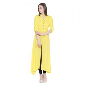 Shree Wow Yellow Crepe Plain Kurta