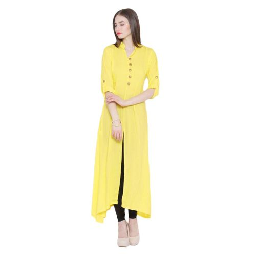 Shree Wow Yellow Crepe Plain Kurta