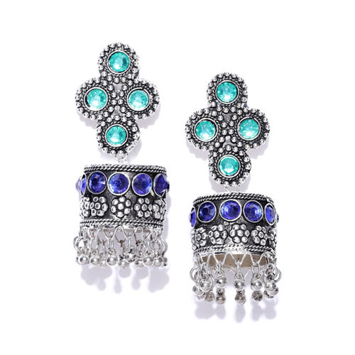 Infuzze Oxidised Silver-Toned & Blue Dome Shaped Textured Jhumkas