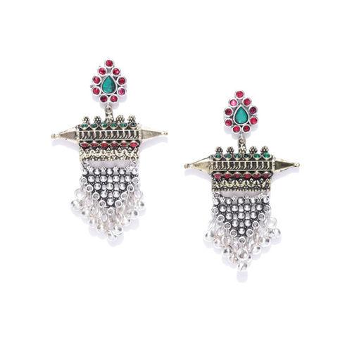 df60785da ... Infuzze Oxidised Silver-Toned & Antique Gold-Toned Stone-Studded Drop  Earrings ...