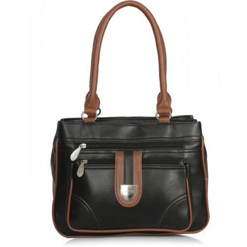 Right Choice Black Leather Textured Shoulder Bag