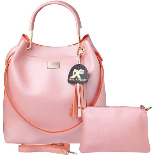 Speed X Fashion Pink Polyurethane Solid Hand-held Bag