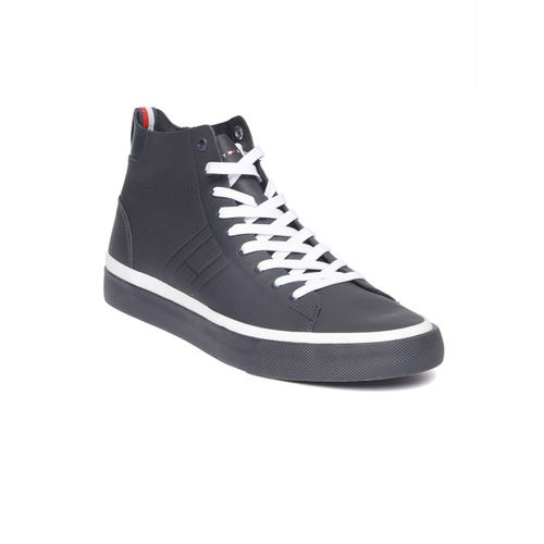 a6476cacf Buy Tommy Hilfiger Men Navy Blue Leather Mid-Top Sneakers online ...