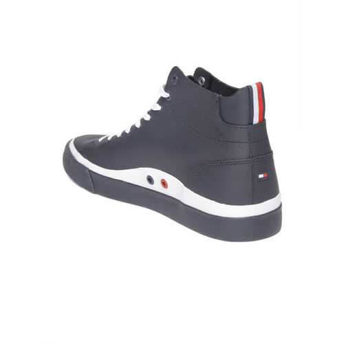 915ca4609e35b3 Buy Tommy Hilfiger Men Navy Blue Leather Mid-Top Sneakers online ...
