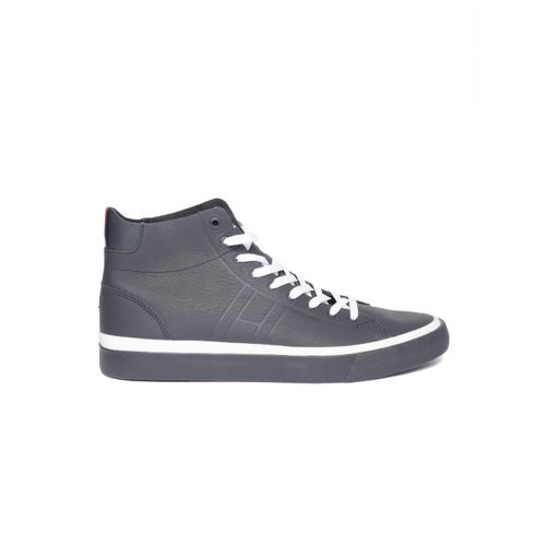 674ff143c88509 Buy Tommy Hilfiger Men Navy Blue Leather Mid-Top Sneakers online ...