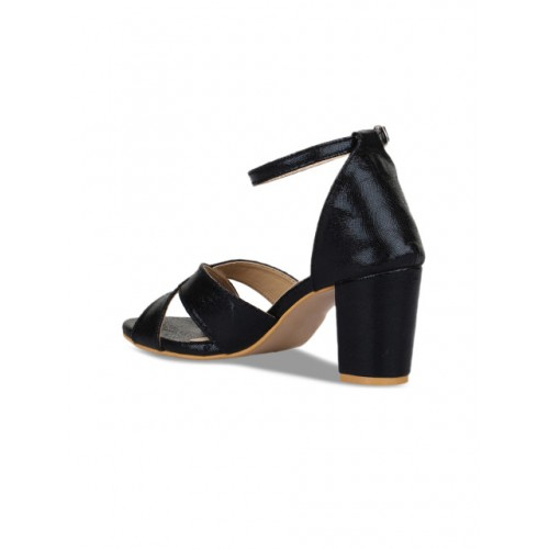 Bruno Manetti Black Synthetic Block Heel Solid Sandals