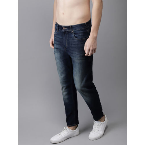 HERE&NOW Men Blue Slim Fit Mid-Rise Clean Look Stretchable Cropped Jeans