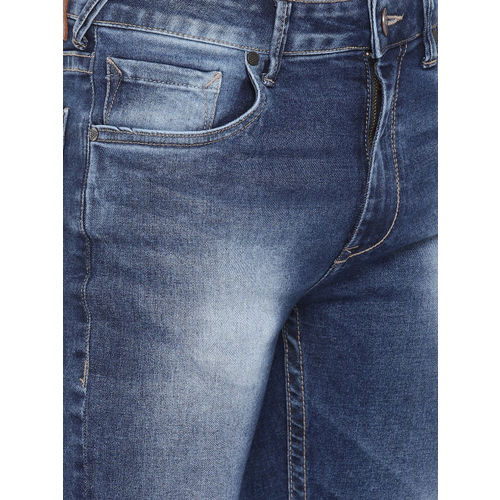 HERE&NOW Men Blue Skinny Fit Mid-Rise Slash Knee Stretchable Jeans