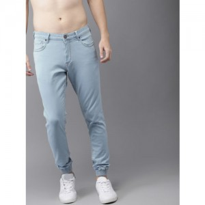 HERE&NOW Men Blue Mid-Rise Clean Look Stretchable Jogger Jeans