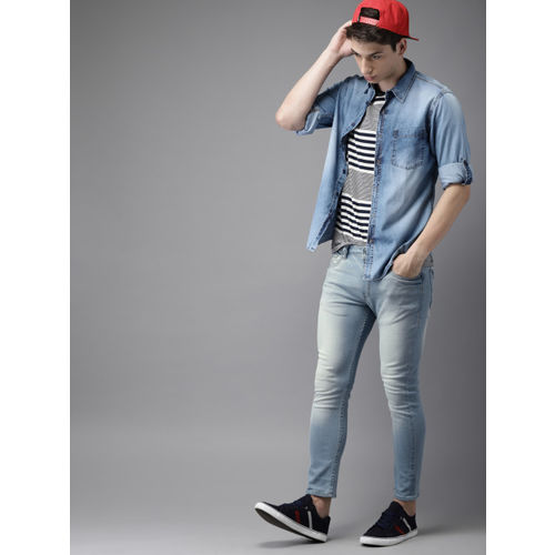 HERE&NOW Men Blue Skinny Fit Mid-Rise Clean Look Stretchable Cropped Jeans