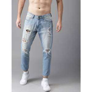 HERE&NOW Men Blue Slim Fit Mid-Rise Highly Distressed Jeans