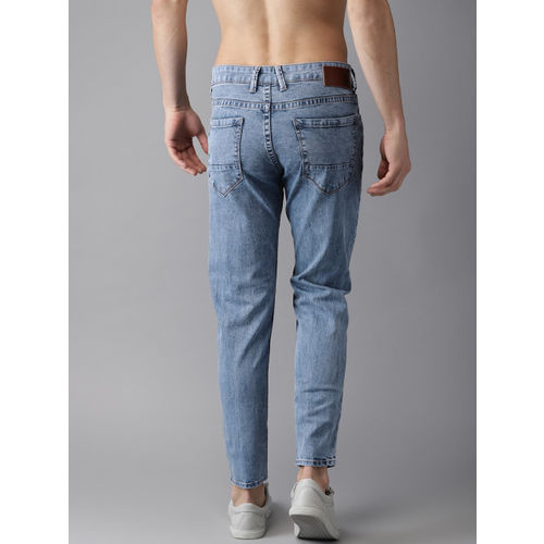 HERE&NOW Men Blue Slim Fit Mid-Rise Slash Knee Stretchable Cropped Jeans