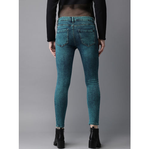 HERE&NOW Women Blue Cropped-Skinny Fit Mid-Rise Clean Look Stretchable Jeans