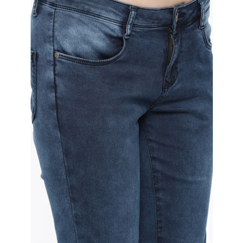 Kraus Jeans Women Blue Mid-Rise Clean Look Stretchable Cropped Jeans