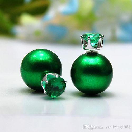 2016 new fashion brand elegant jewelry Imitation Zircon stud earring double pear
