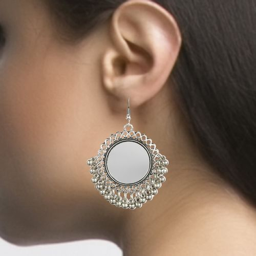 oxidised Afghani German Silver Mirror Chandbali Earring by Sparkling Jewellery