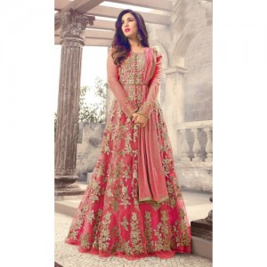 Salwar Soul Pink Color Long Gown With Fany Work