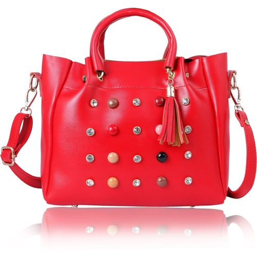 Women Marks Red Polyurethane Hand-held Bag