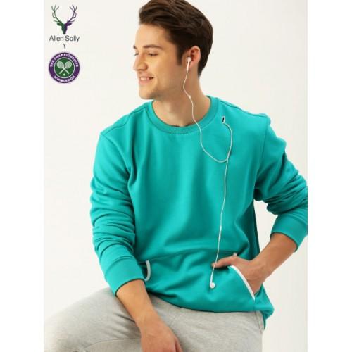 21f80230724 Buy Allen Solly Sport Men Teal Blue Cotton Solid Sweatshirt online ...