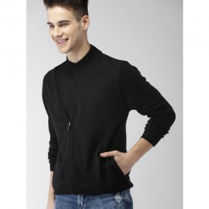 Mast & Harbour Men Black Solid Front-Open Sweater