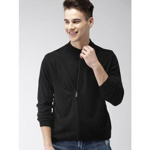 Mast & Harbour Men Black Solid Front-Open Sweater