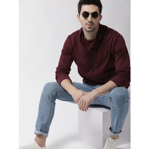 Mast & Harbour Men Burgundy Solid Sweatshirt