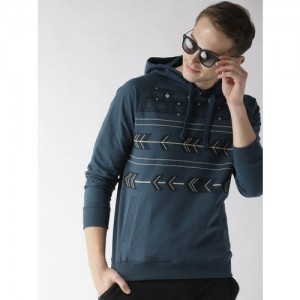 Mast & Harbour Men Teal Blue Printed Hooded Sweatshirt