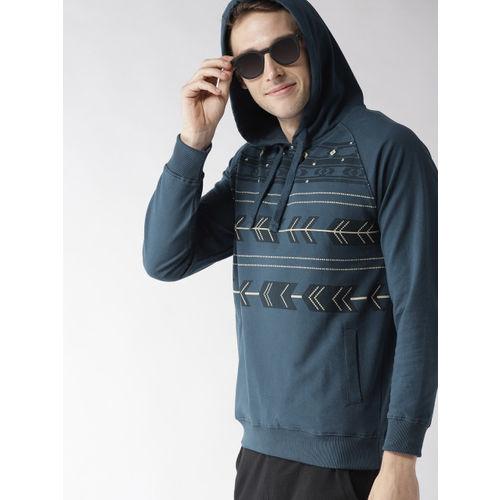 Mast & Harbour Men Teal Blue Printed Hooded Sweatshirt