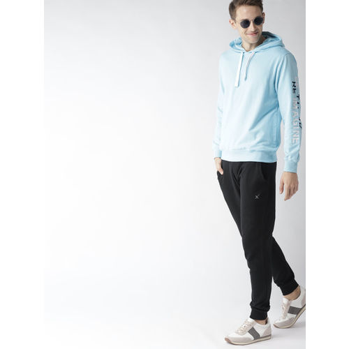 Mast & Harbour Men Blue Solid Hooded Sweatshirt