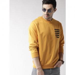 Mast & Harbour Men Mustard Yellow Solid Sweatshirt