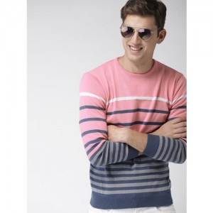 Mast & Harbour Men Pink & Blue Striped Pullover