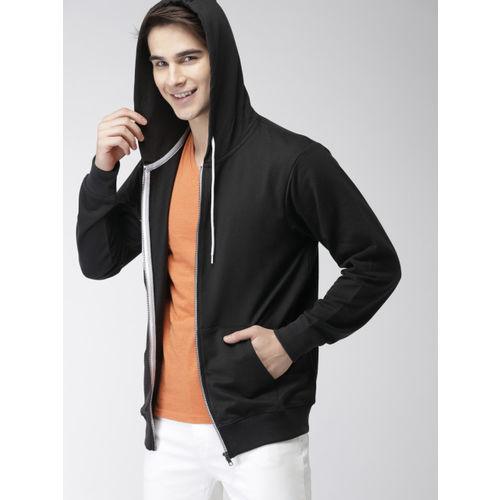 Mast & Harbour Men Black Solid Hooded Sweatshirt