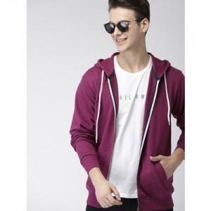 Mast & Harbour Men Magenta Solid Hooded Sweatshirt
