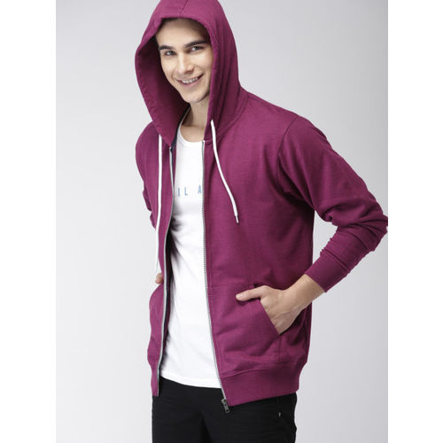 Mast & Harbour Men Magenta Solid Hooded Sweatshirt