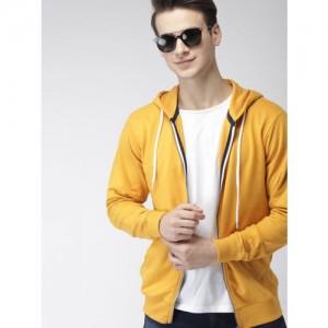 Mast & Harbour Men Yellow Solid Hooded Sweatshirt