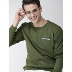 Mast & Harbour Men Olive Green Printed Sweatshirt