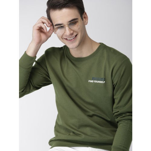 Mast & Harbour Men Olive Green Printed Sweatshirt