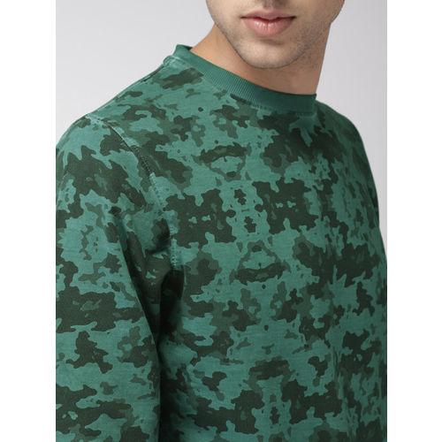 Mast & Harbour Men Teal Green Printed Sweatshirt