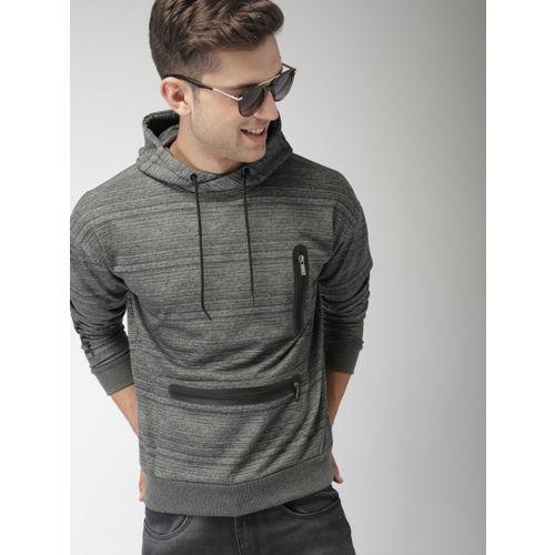 Mast & Harbour Men Charcoal Grey Solid Hooded Sweatshirt