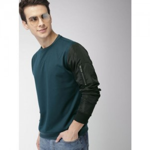 Mast & Harbour Men Teal Green Solid Sweatshirt