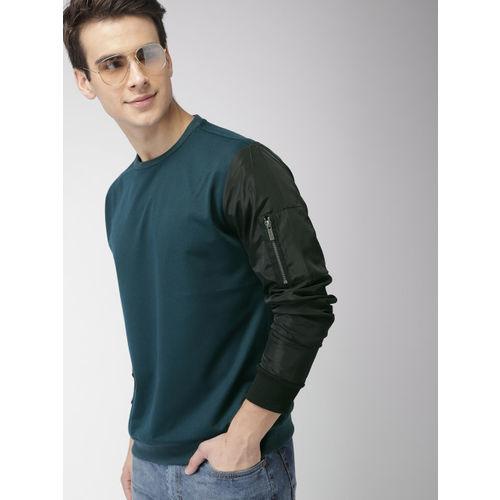 Mast & Harbour Men Teal Green Solid Sweatshirt