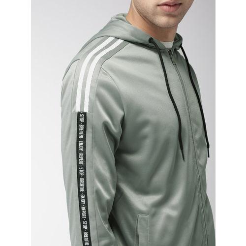 Mast & Harbour Men Grey Solid Hooded Sweatshirt