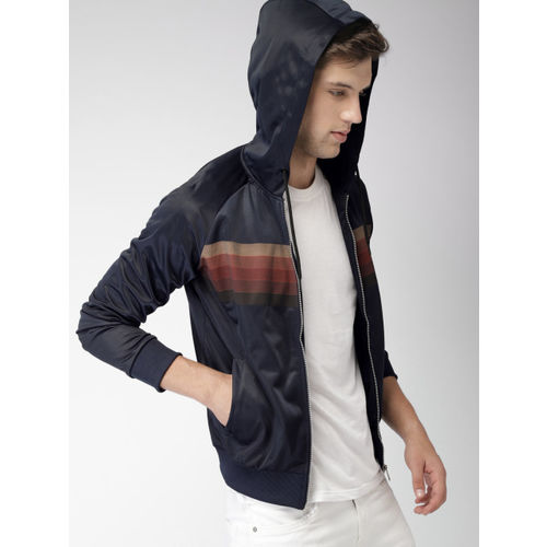 Mast & Harbour Men Navy Blue Striped Hooded Sweatshirt