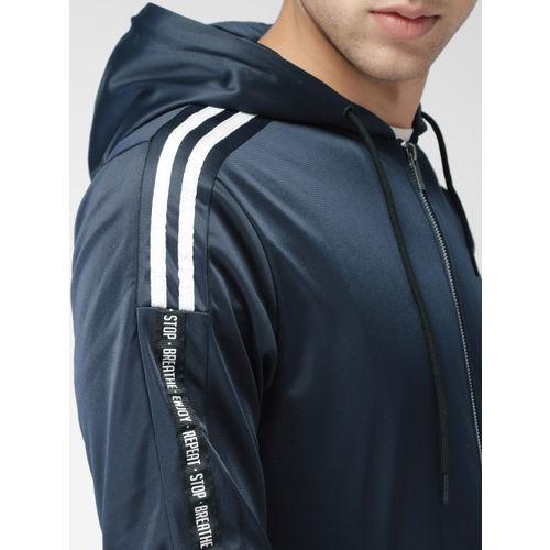 Mast & Harbour Men Navy Blue Solid Hooded Sweatshirt