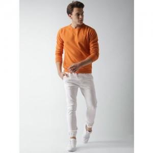 Mast & Harbour Men Orange Solid Sweatshirt