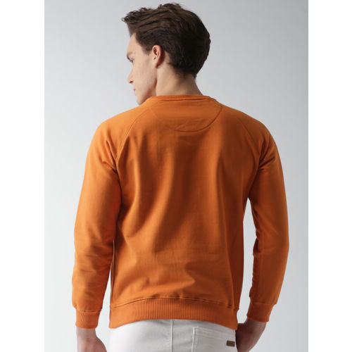 Mast & Harbour Men Orange Solid Sweatshirt