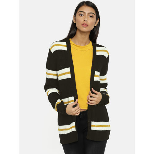 FOREVER 21 Women Black & Off-White Striped Cardigan