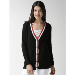 FOREVER 21 Women Black Solid Cardigan Sweater