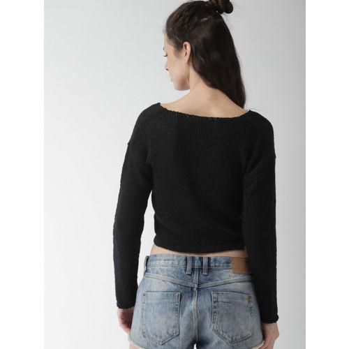 FOREVER 21 Women Black Solid Crop Pullover