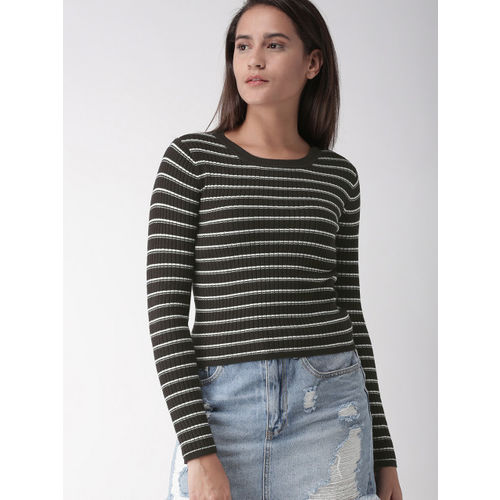FOREVER 21 Women Black & White Striped Pullover
